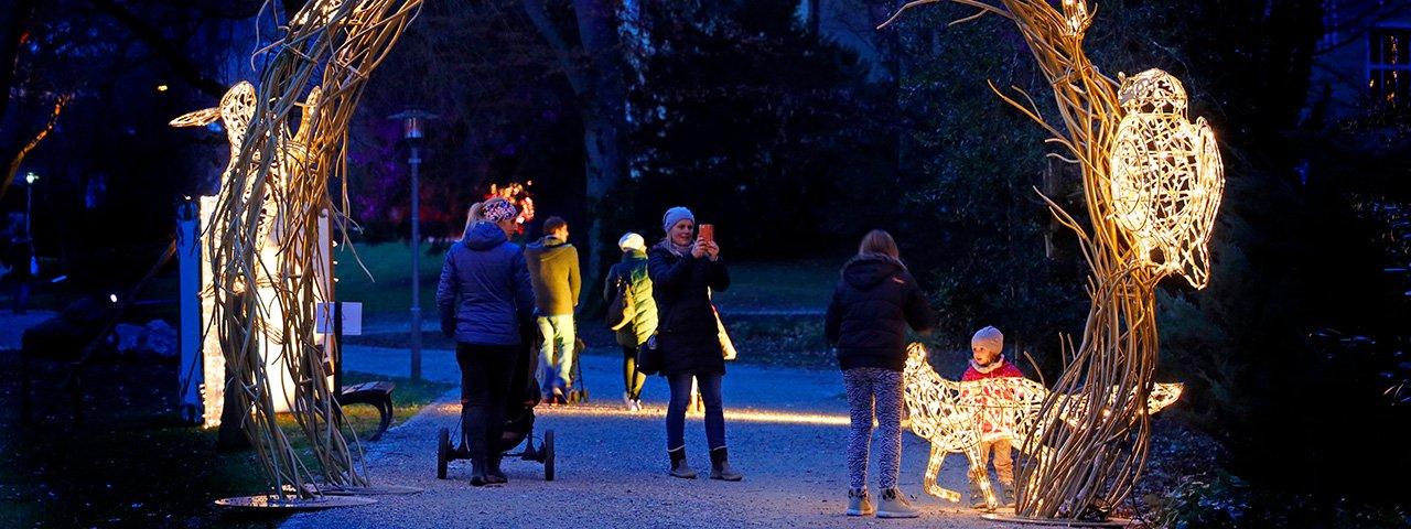"""Leuchtende Märchenwelt: Die """"Lumagica"""" lässt den Innsbrucker Hofgarten zauberhaft glitzern und erstrahlen, © MK Illumination"""
