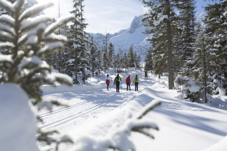 Langläufers bij Pertisau am Achensee in de winter 2014/15. (Foto: Tirol Werbung)