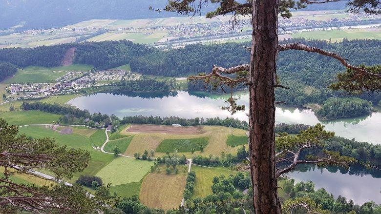 Het uitzicht vanaf de via ferrata bij de Reintaler See.