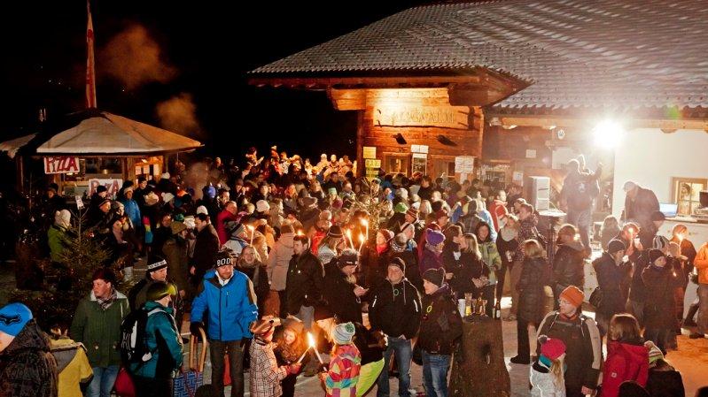 Tijdens Oud en Nieuw op de berg van Hohe Salve wordt het nieuwe jaar feestelijk ingeluid, © Thomas Trinkl
